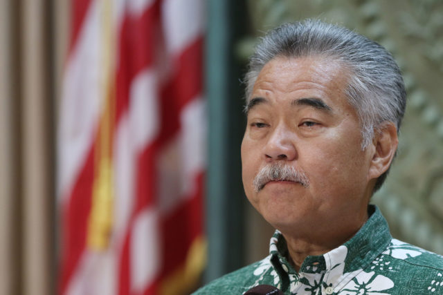 Governor David Ige speaks to media and residents of Na Lei Hulu Kupuna.