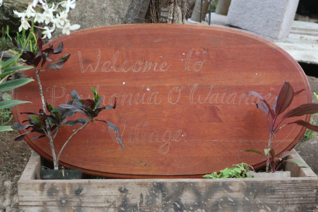 Puuhonua O Waianae welcome sign near Aunty Twinkle's area.