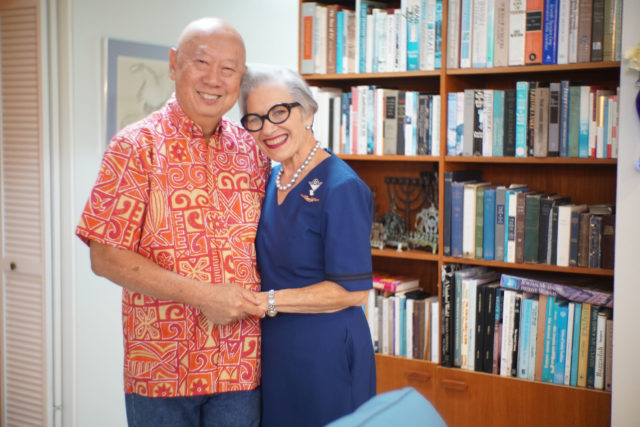 United airlines flight attendant Trudy Wong with husband Alvin Wong at their residence.