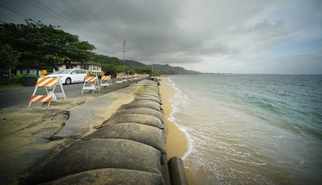 Kaaawa Road damage Kamehameha Hwy ocean level rise. global warming
