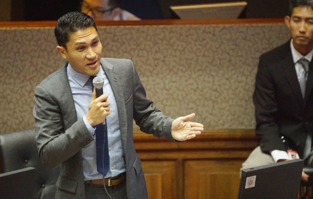 Rep Kaniela Ing speaks in support of the ocean flotilla bill during House floor session.