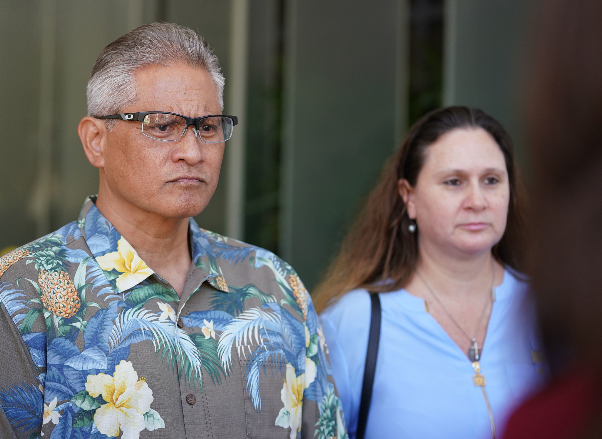 Retired HPD Chief Louis Kealoha and Katherine Kealoha leave District court after pleading not guilty.