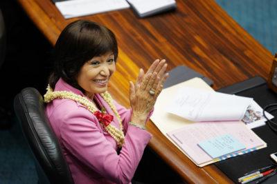 Senator Donna Mercado Kim during floor session.