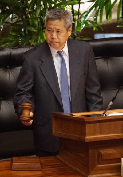 Speaker Scott Saiki gavels in during House floor session at the Capitol.