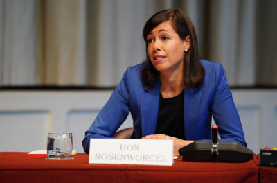 FCC Commissioner Jennifer Rosenworcel during EW center hearing.