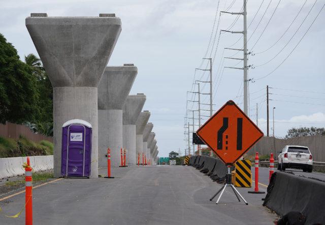 HART Rail supports along Kamehameha Highway near Pearl Harbor.