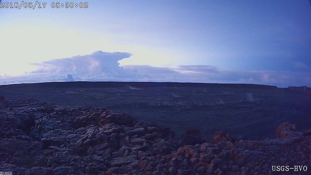 This photo provided by U.S. Geological Survey shows the ash plume at the Kīlauea Volcano, taken from a Mauna Loa webcam on Thursday, May 17, 2018 in Hawaii. The volcano has erupted from its summit, shooting a dusty plume of ash about 30,000 feet into the sky. Mike Poland, a geophysicist with the U.S. Geological Survey, confirmed the explosion on Thursday. It comes after more than a dozen fissures recently opened miles to the east of the crater and spewed lava into neighborhoods. (U.S. Geological Survey/HVO via AP)