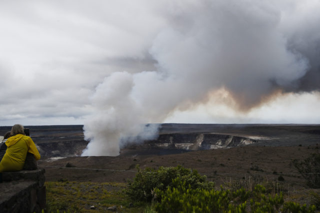 FILE - In this May 9, 2018, file photo, steam and gas rise from Kilauea's summit crater in Hawaii Volcanoes National Park, Hawaii. Hawaii's Kilauea volcano has captivated people around the world by shooting lava high into the sky and sending rivers of molten rock pouring down hillsides into the ocean over the past month, but it's only one of many volcanoes in the islands. (AP Photo/Jae C. Hong, File)