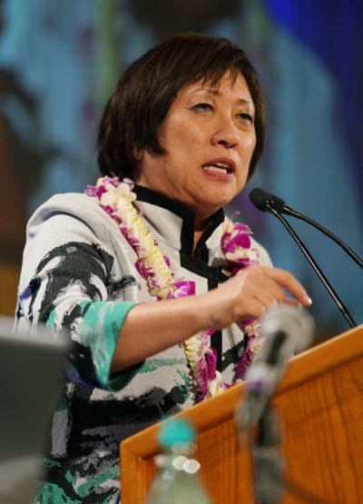 Gubernatorial Candidate Colleen Hanabusa speaks to 2018 Democratic Party Convention at the Hilton Waikaloa in Kona, Hawaii.