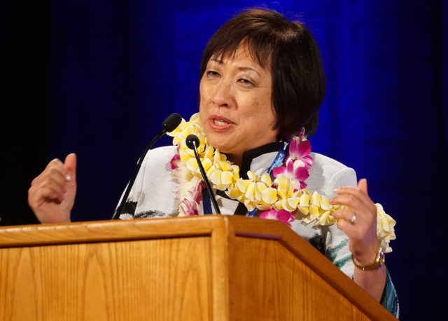 Gubernatorial Candidate Congressowman Colleen Hanabusa speaks during the 2018 Hawaii Democratic Convention held at the Hilton Waikaloa in Kona, Hawaii.