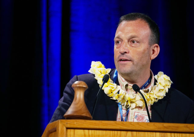 Gubernatorial Candidate Josh Green speaks during the 2018 Democratic Party Convention held at the Hilton Waikaloa Resort in Kona, Hawaii.