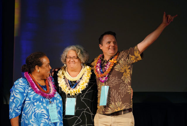 Center, new Hawaii Democratic Chair Kealii Lopez with Left, Hawaii Democratic Chair Candidates Gloria Borland and right, outgoing Chair Tim Vanderveer at the Hilton Waikaloa in Kona, Hawaii.
