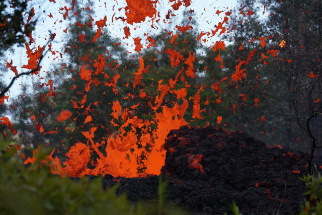 Lava erupts in Leilani Estates near Pohoiki Road after several large quakes rocked the area. Pahoa, Hawaii.