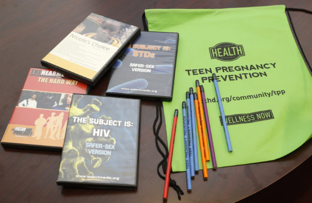 Some of the materials used by the Oklahoma City County Health Department in the Teen Pregnancy Prevention program are on display at the health department in Oklahoma City, Monday, July 21, 2014. The 25th annual Kids Count report from the Baltimore-based Annie E. Casey Foundation ranked Oklahoma 39th in 16 indicators across four areas: economic well-being, education, health and family and community. Teen births among girls ages 15 to 19 years old decreased 13 percent, from 54 teen births per 1,000 in 2005 to 47 teen births per 1,000 in 2012. Several affiliates of Planned Parenthood are suing the Department of Health and Human Services over its efforts to impose an abstinence-only focus on its Teen Pregnancy Prevention Program that has served more than 1 million young people. The lawsuits were filed Friday, June 22, 2018, in federal courts in New York City and Spokane, Washington, by four different Planned Parenthood affiliates covering New York City and the states of Alaska, Hawaii, Idaho, Iowa, Nebraska and Washington. (AP Photo/Sue Ogrocki, File)