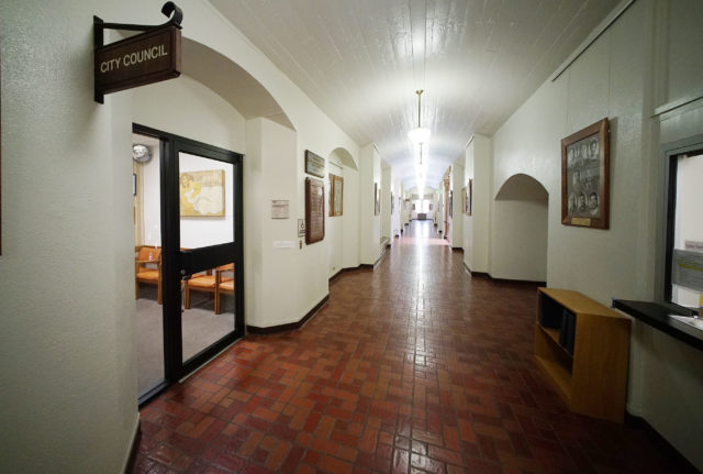 City Council Lobby area entrance at right located on 2nd floor Honolulu Hale. Many of the walls inside Honolulu Hale have lead paint and no drilling into the walls are allowed.