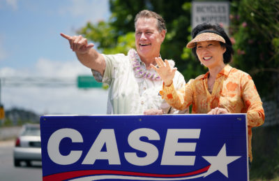 Ed Case for Congress with his wife Audrey wave to passing motorists along Kalanianiole Hightway.
