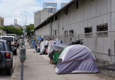 Homeless camping along Halekauwila Kakaako across street where Mayor Caldwell held his press conference.