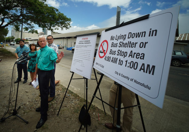 Mayor Krik Caldwell announces new homeless law/ordinances during press conference held in Kakaako.