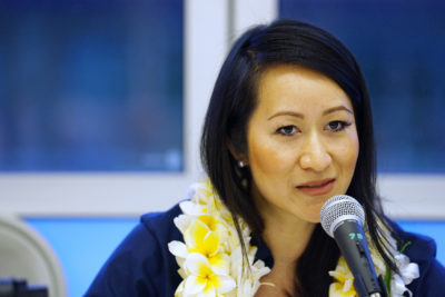 OHA Candidate Kalei Akaka speaks during a forum held at Windward Community College.