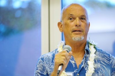 OHA Candidate Paul Mossman speaks during forum held at the Windward Community College campus.
