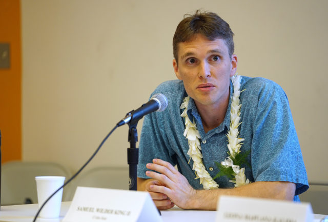OHA Candidate Samuel King III during forum held at the Windward Community College campus.