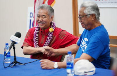 UPW State Director Dayton Nakanelua and their membership endorses Governor David Ige 2018 campaign during press event today.