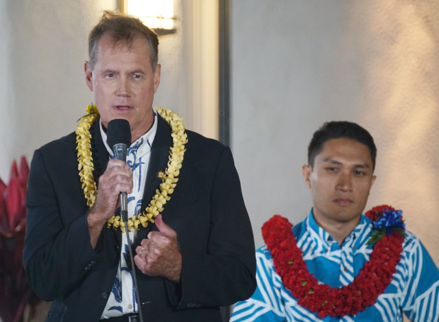 CD1 Candidate Debate Ed Case speaks during a congressiontal candidate debate held at Kamehameha Schools.
