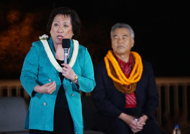 Congresswoman Colleen Hanabusa and Gov David Ige at a Gubernatorial Debate held at the Kamehameha Schoos.