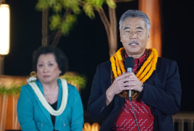 Gov David Ige and Congresswoman Colleen Hanabusa at a Gubernatorial Debate held at the Kamehameha Schoos.