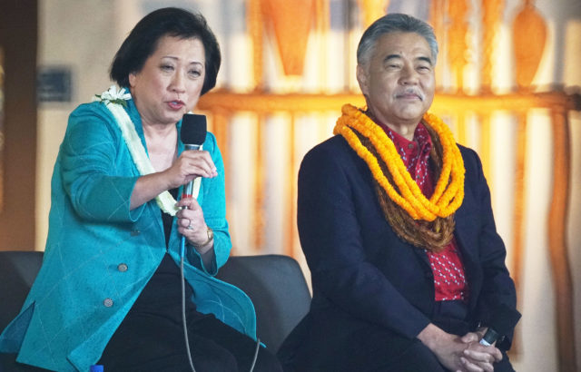 Congresswoman Colleen Hanabusa and Gov David Ige at a Gubernatorial Debate held at the Kamehameha Schoos.