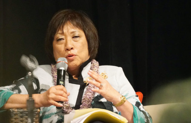 Congresswoman Colleen Hanabusa speaks at Ulu Ka Lala I ke Kumu, 25th annual Hawaii Conservation Conference Gubernatorial Candidate forum