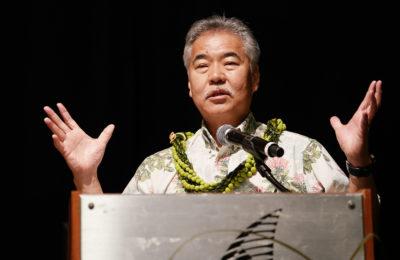 Gov David Ige gestures Nature conservation gubernatorial forum held at the Hawaii Convention Center.