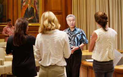Governor David Ige during veto press conference held at the Capitol.