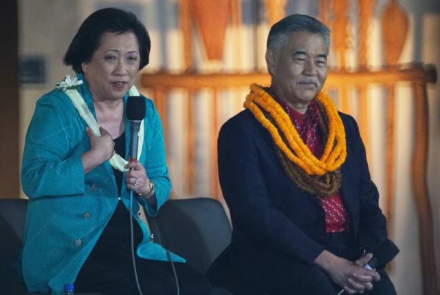Gubernatorial Candidates Colleen Hanabusa Gov David Ige debate held at the Kamehameha Schools Kapalama campus.