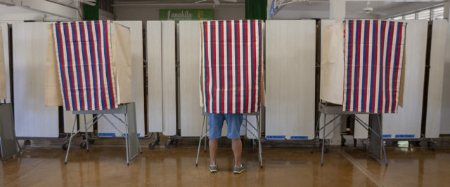 Edwin Hayashi of Kalihi votes during the primary election for his favorite candidates at Lanakila Elementary School, Saturday, Aug. 11, 2018, in Honolulu.