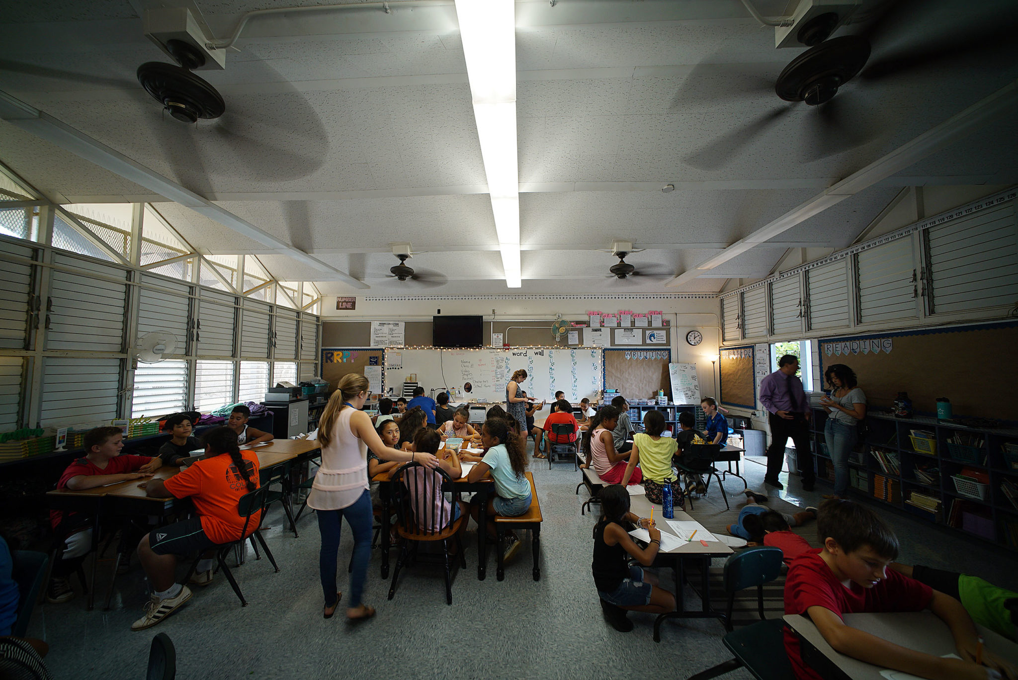 Ceiling fans blow in warm August at Makaha Elementary School.