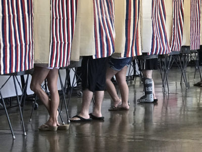 Saturday, August 11, 2018. Hawaii is headed to the polls Saturday to weigh in on a number of key primary election races, including governor and congress. (Civilbeat Photo Ronen Zilberman)